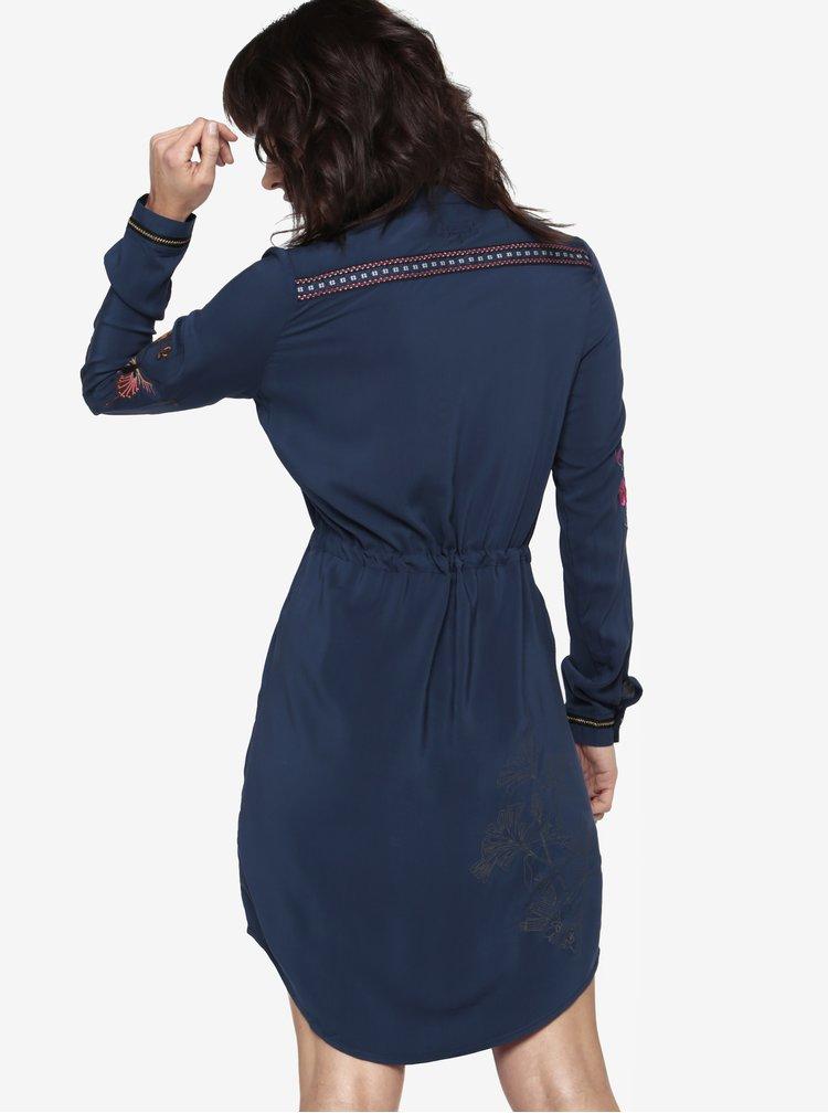 Tmavě modré košilové šaty s výšivkami Desigual Jazmin