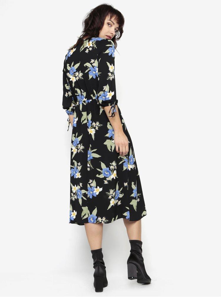 Černé květované šaty s dlouhým rukávem a rozparkem Miss Selfridge