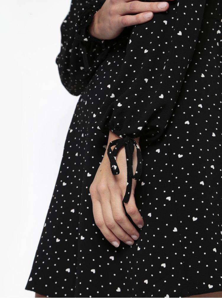Černé vzorované šaty s dlouhým rukávem Miss Selfridge