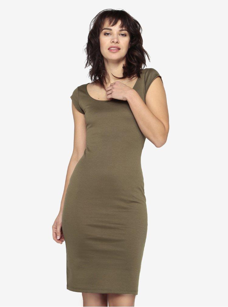 Kaki puzdrové basic šaty s okrúhlym výstrihom ZOOT