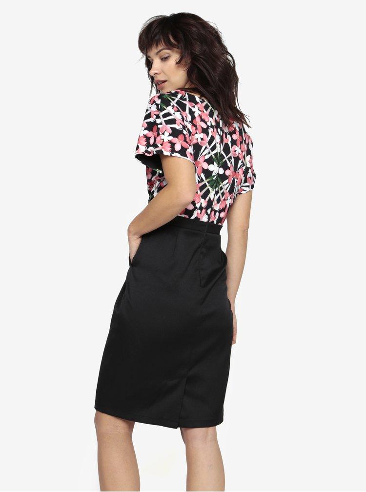 Černé květované šaty s překládaným topem Paper Dolls
