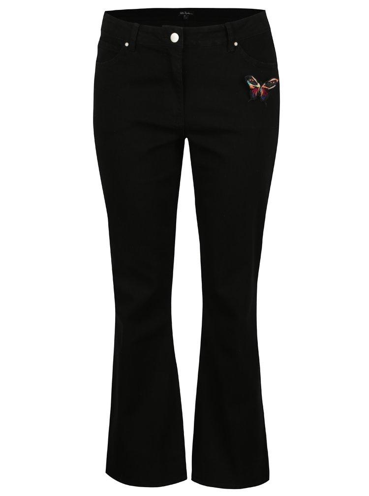 Černé straight džíny s broží Ulla Popken