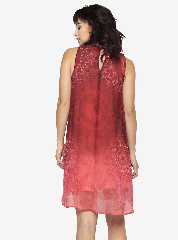 Vínové vzorované šaty s překládaným předním dílem Desigual Osvaldo