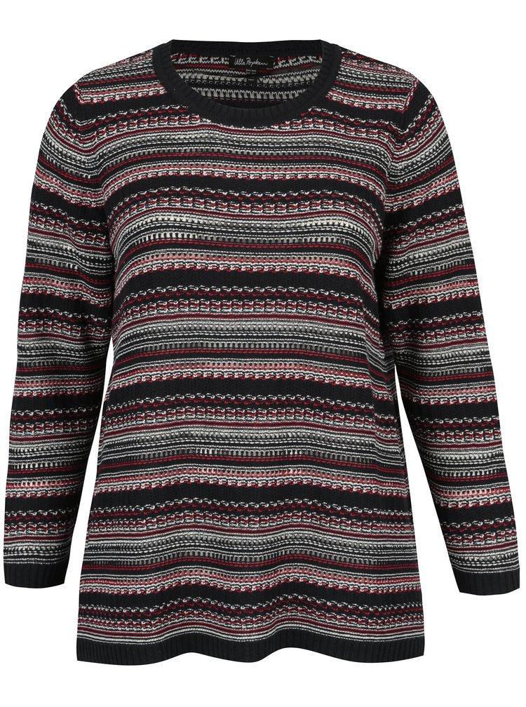 Pulover bleumarin tricotat cu perforatii - Ulla Popken