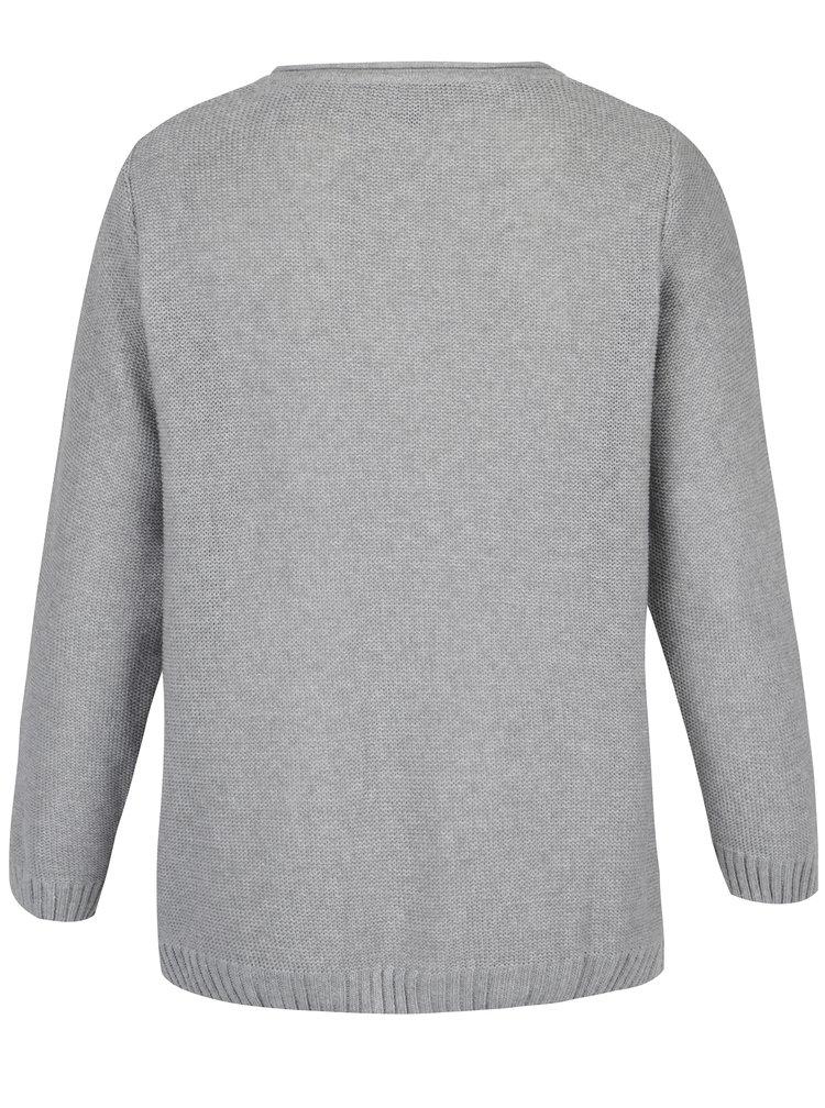 Šedý svetr s véčkovým výstřihem Ulla Popken