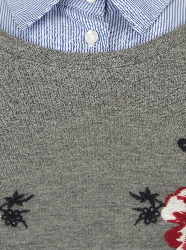 Šedý svetr s všitým límečkem Ulla Popken