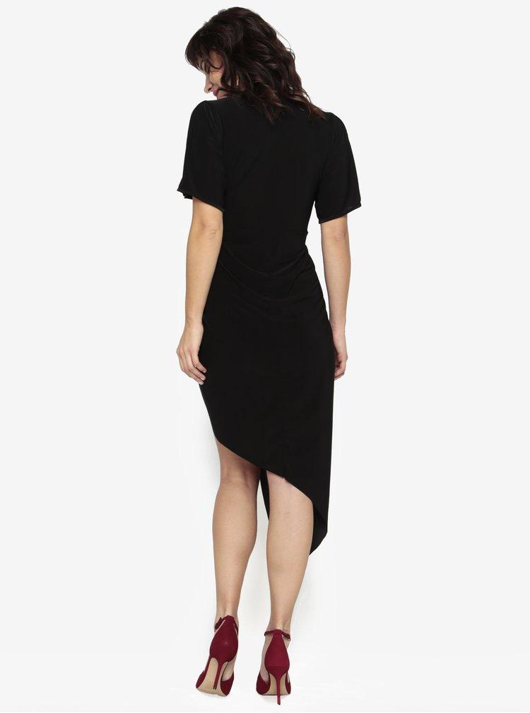 Černé asymetrické šaty s krátkým rukávem Miss Selfridge
