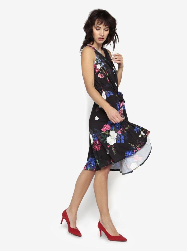 Černé květované šaty bez rukávů Billie & Blossom