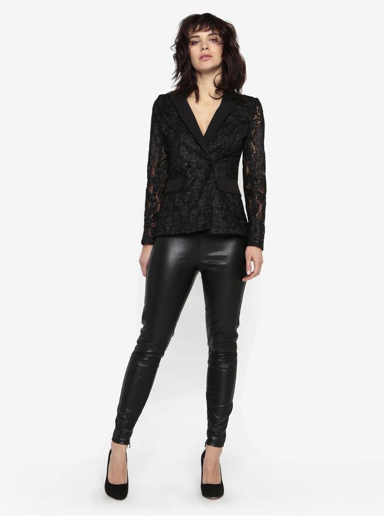 Černé krajkové sako s průsvitnými rukávy MISSGUIDED