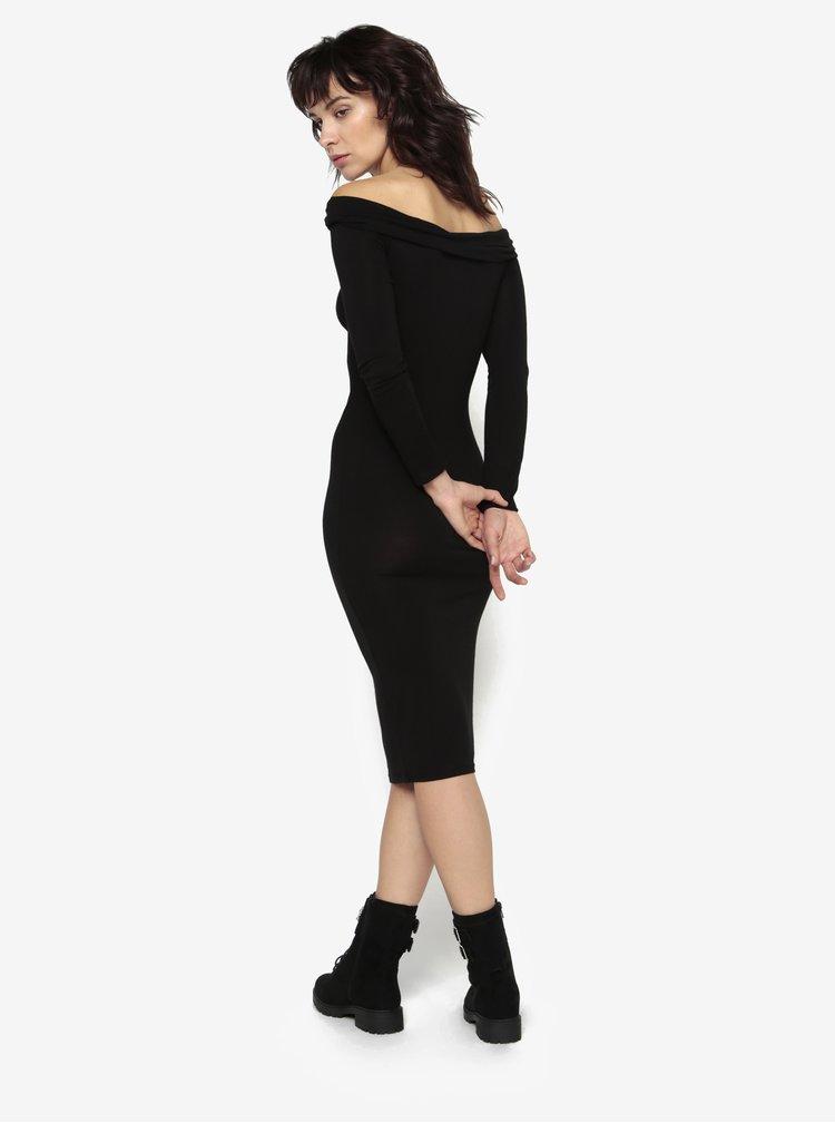 Černé šaty s odhalenými rameny MISSGUIDED