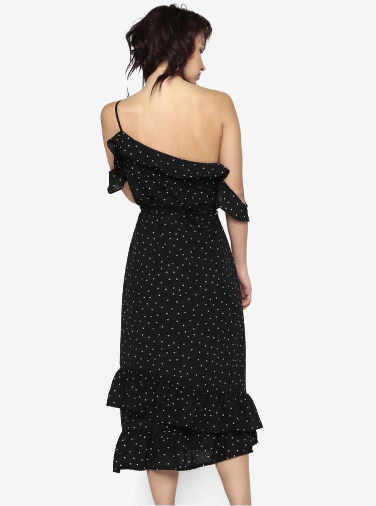 Rochie asimetrica neagra cu buline si volane MISSGUIDED