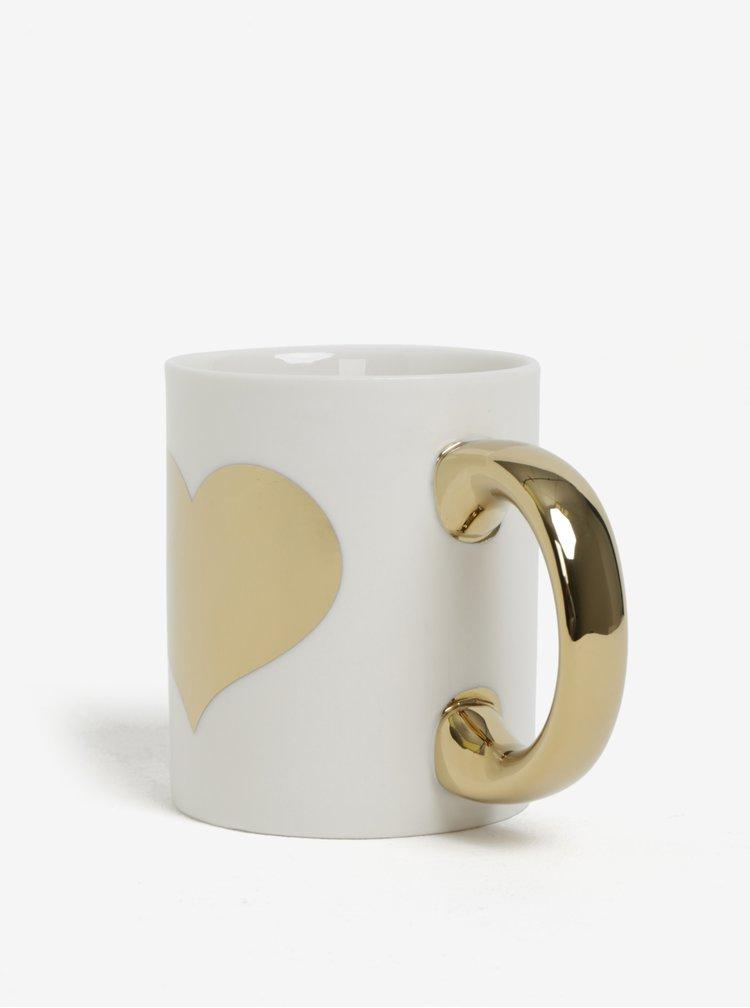 Krémový hrnek s detaily ve zlaté barvě Sass & Belle