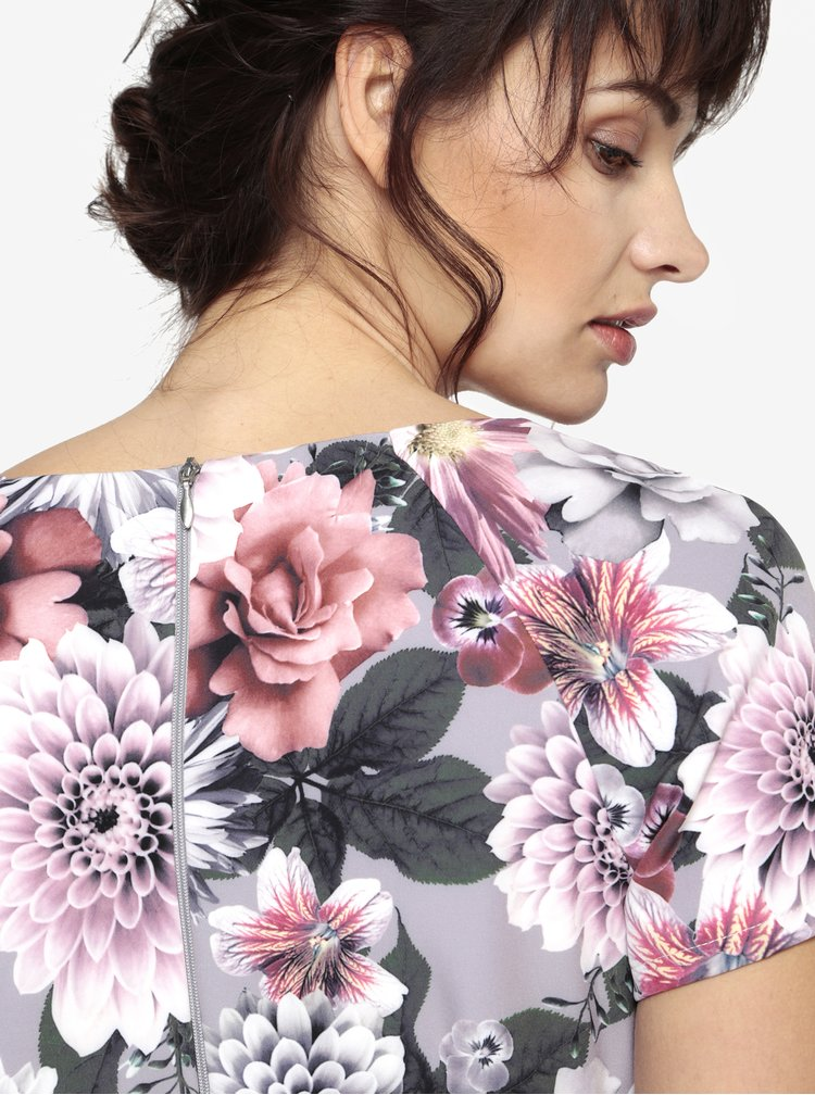 Šedé květované šaty s překládaným výstřihem Paper Dolls
