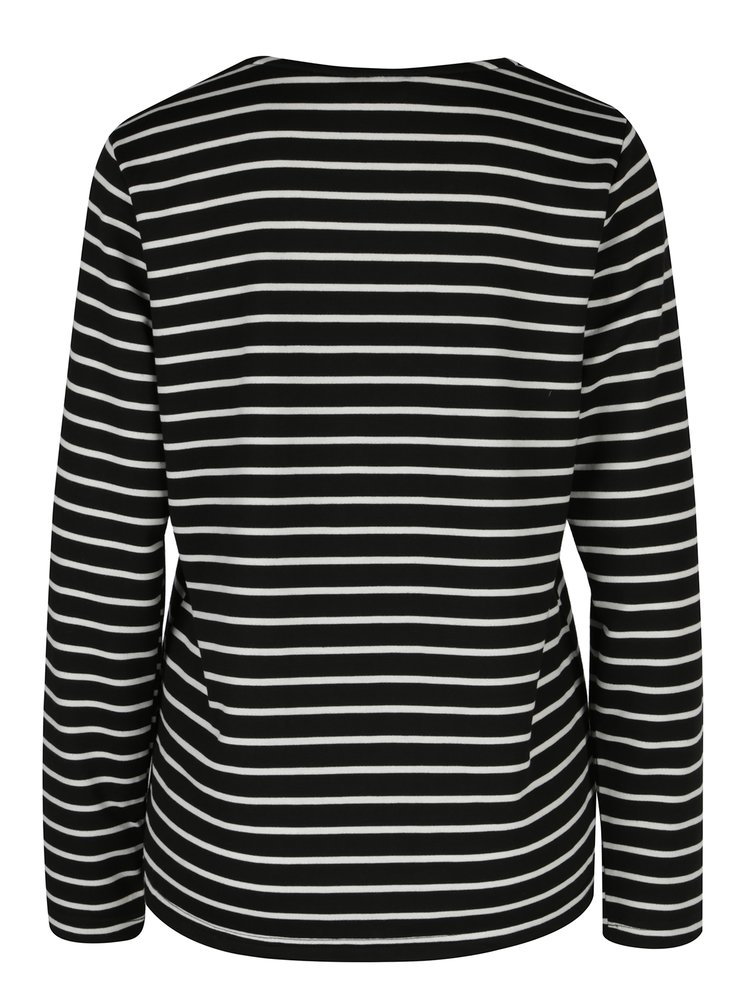 Černé pruhované tričko s dlouhým rukávem VERO MODA Nira
