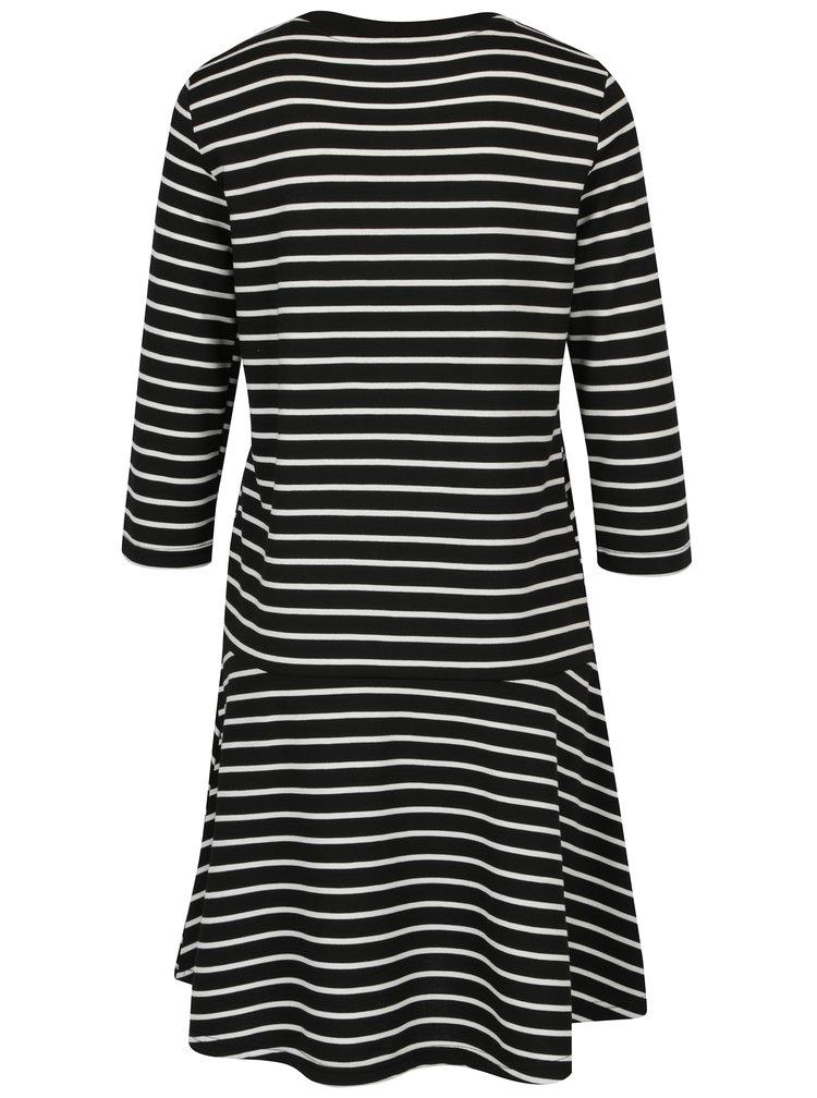 Modro-krémové pruhované šaty s 3/4 rukávem VERO MODA Nira