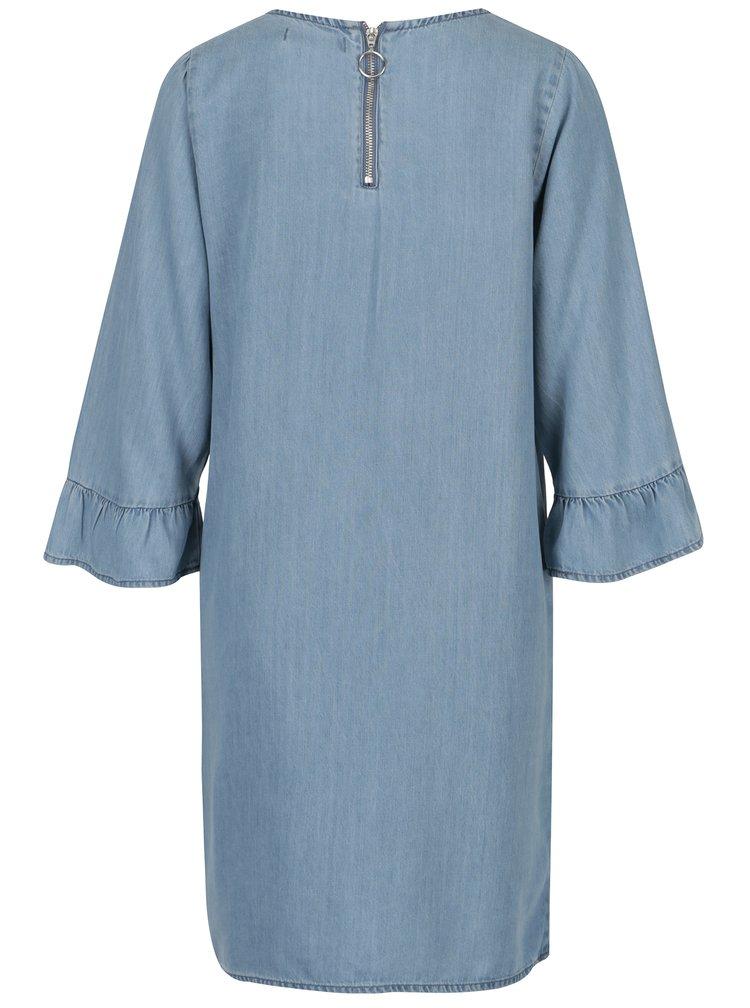 Rochie albastra din denim cu volane la maneci - VERO MODA Lissy