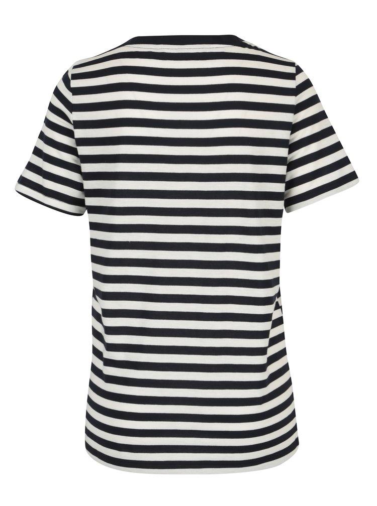 Krémovo-černé pruhované tričko VERO MODA Nia