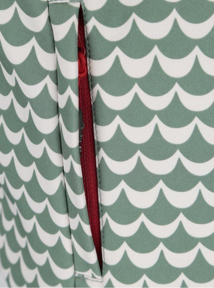 Vesta impermeabila verde & alb cu gluga si print - Blutsgeschwister