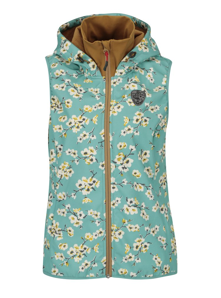 Modrá nepromokavá květovaná vesta s kapucí Blutsgeschwister