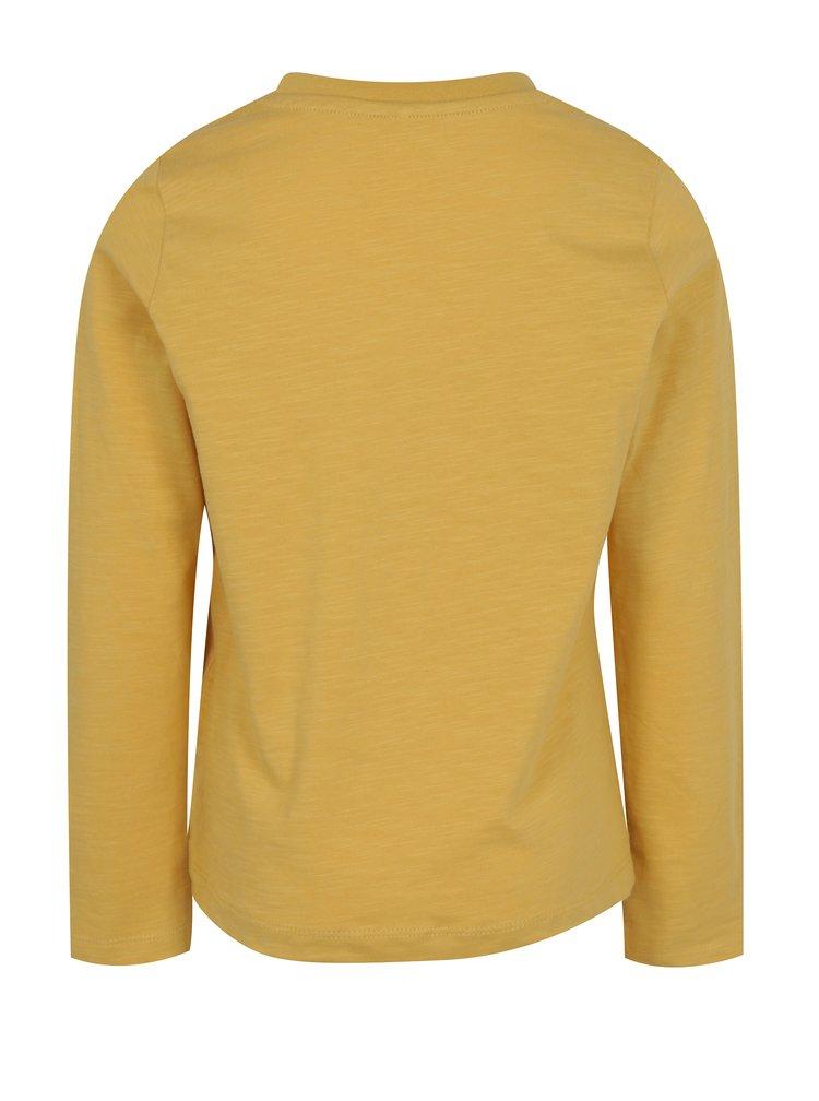 Hořčicové klučičí tričko s potiskem a dlouhým rukávem name it Jejur