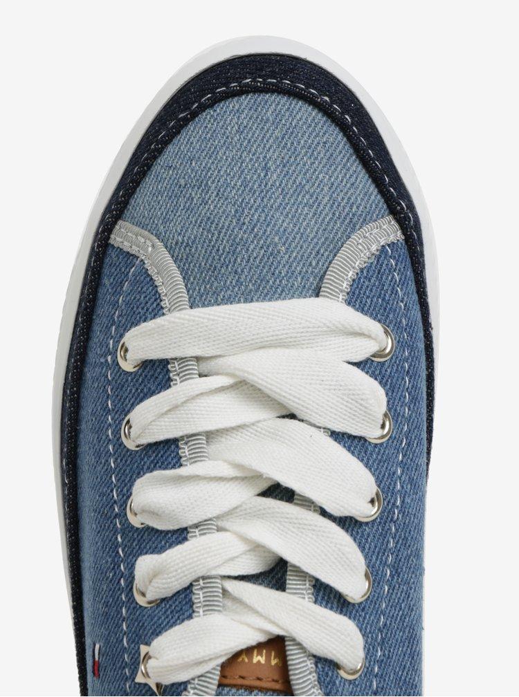 Modré džínové dámské tenisky na platformě Tommy Hilfiger