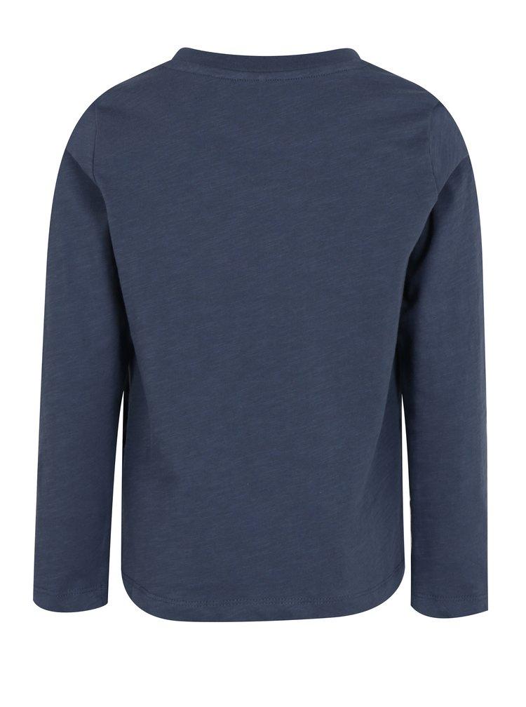 Tmavě modré klučičí tričko s potiskem a dlouhým rukávem name it Jejur