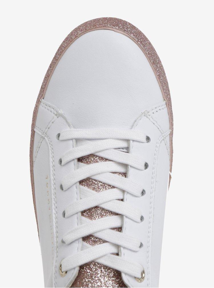 Bílé dámské kožené tenisky na třpytivé platformě Tommy Hilfiger