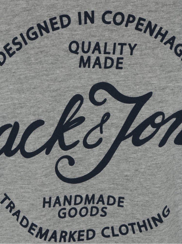 Šedé žíhané tričko s potiskem Jack & Jones New Raffa