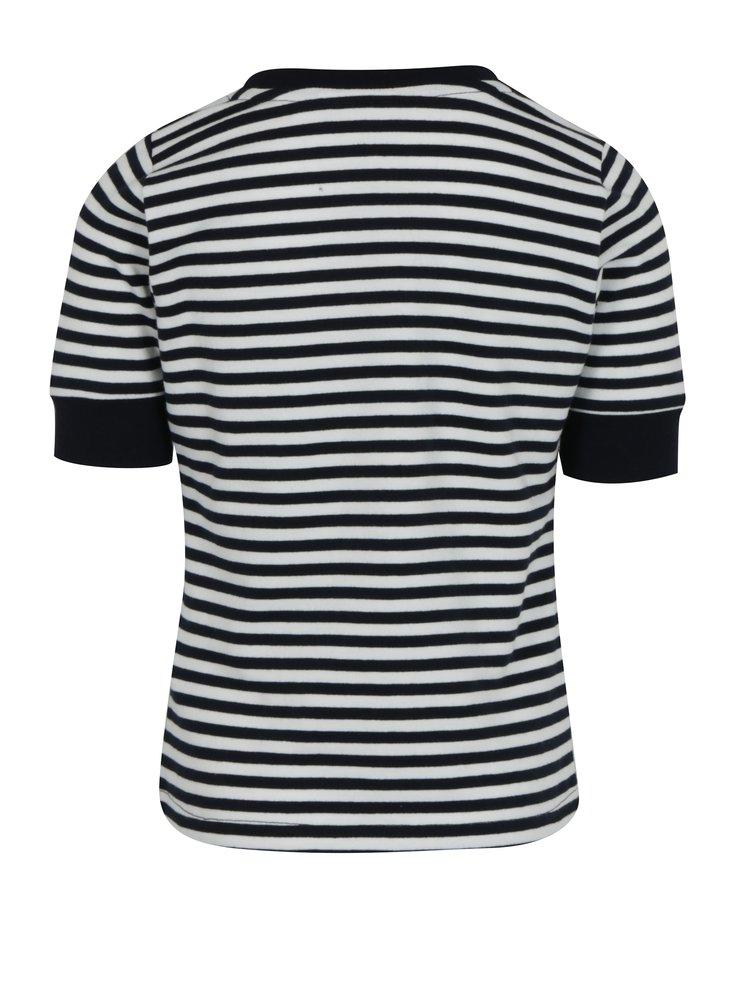 Bílo-modré holčičí pruhované tričko s nášivkami name it Jannali