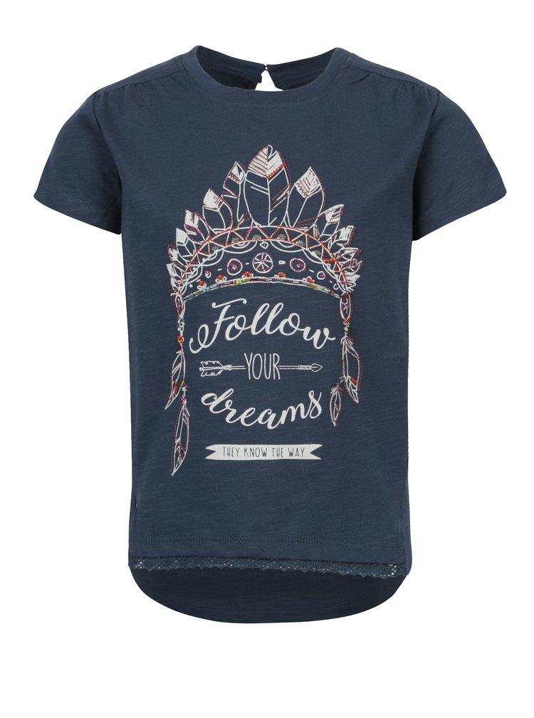 Tmavě modré holčičí tričko s potiskem a korálky Bóboli