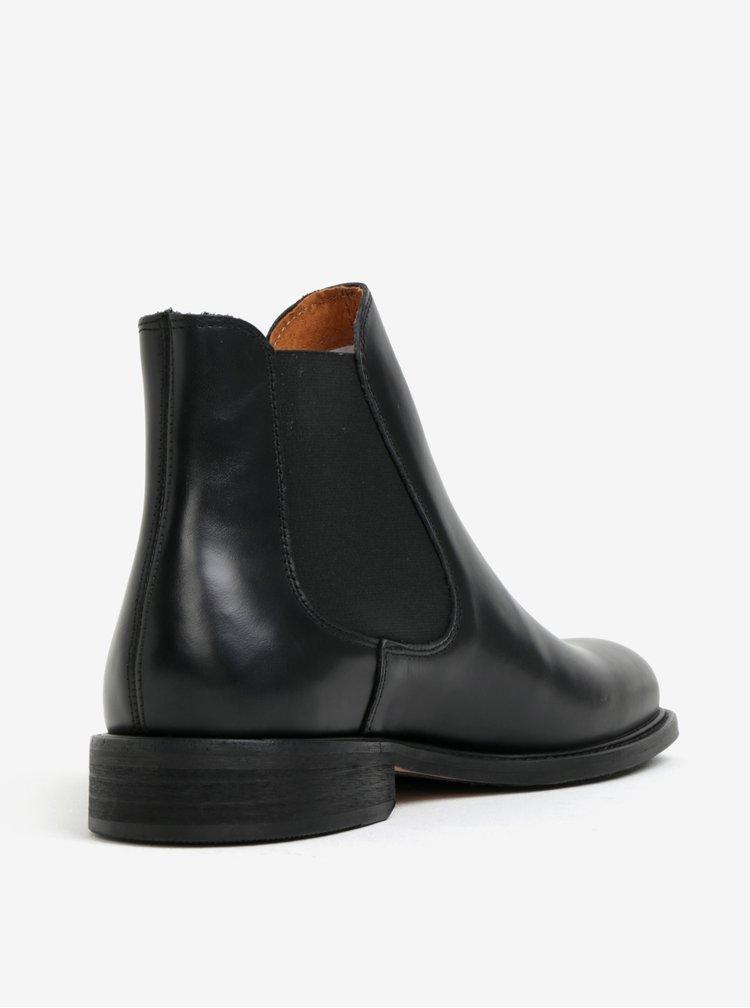 Černé pánské kožené chelsea boty Selected Homme Baxter
