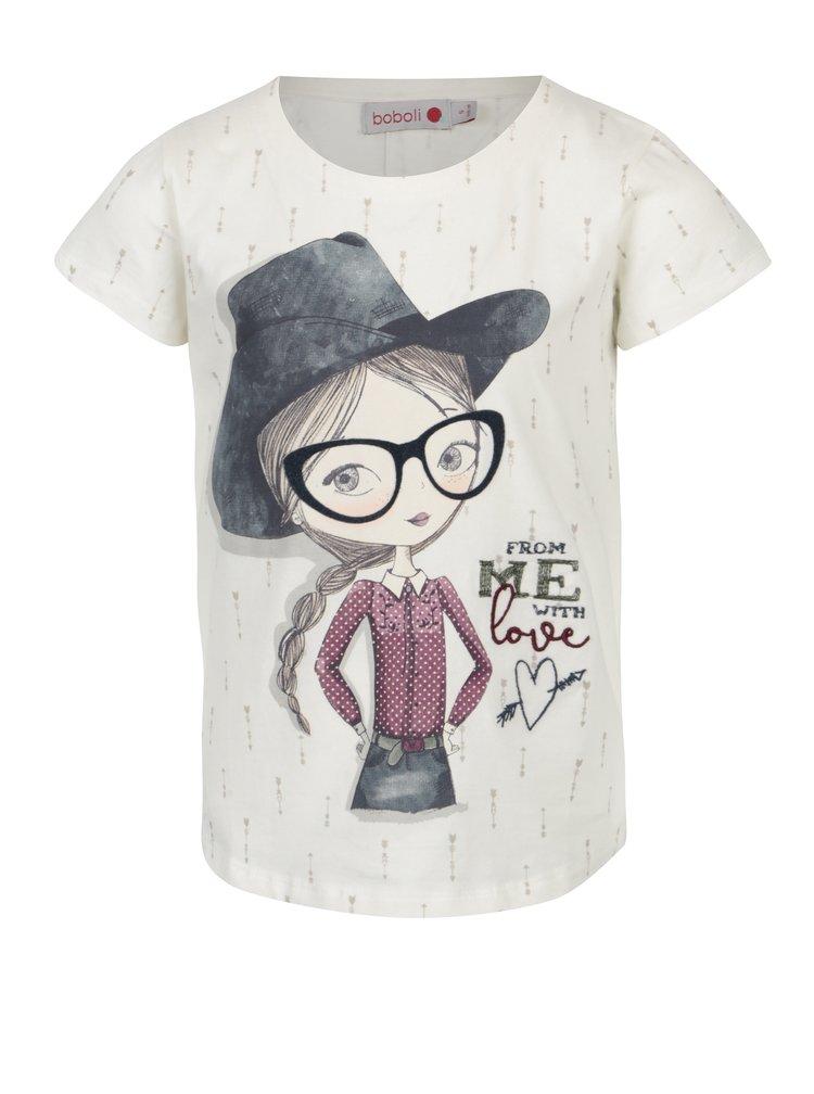 Krémové holčičí tričko s potiskem a výšivkou Bóboli