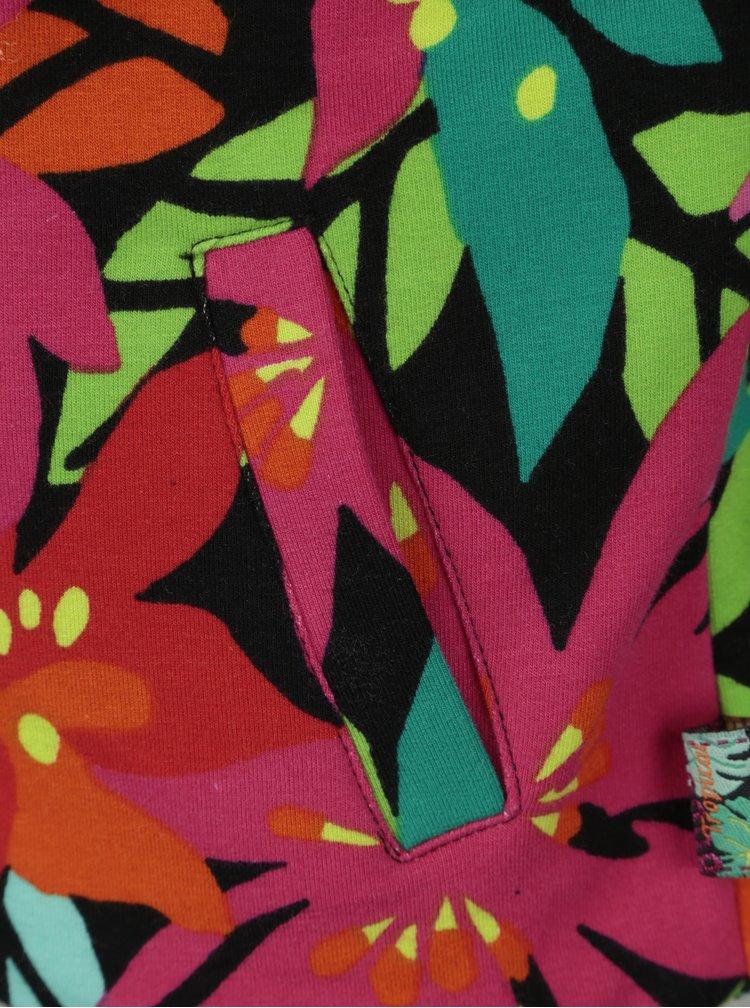Růžovo-zelená holčičí vzorovaná mikina Bóboli