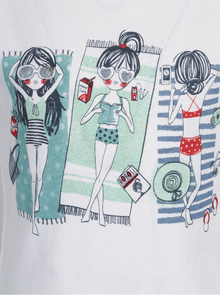 Bílé holčičí tričko s třpytivým potiskem Bóboli