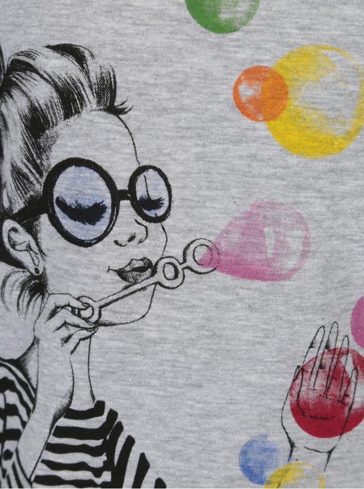Šedé holčičí tričko s potiskem a dlouhým rukávem Bóboli
