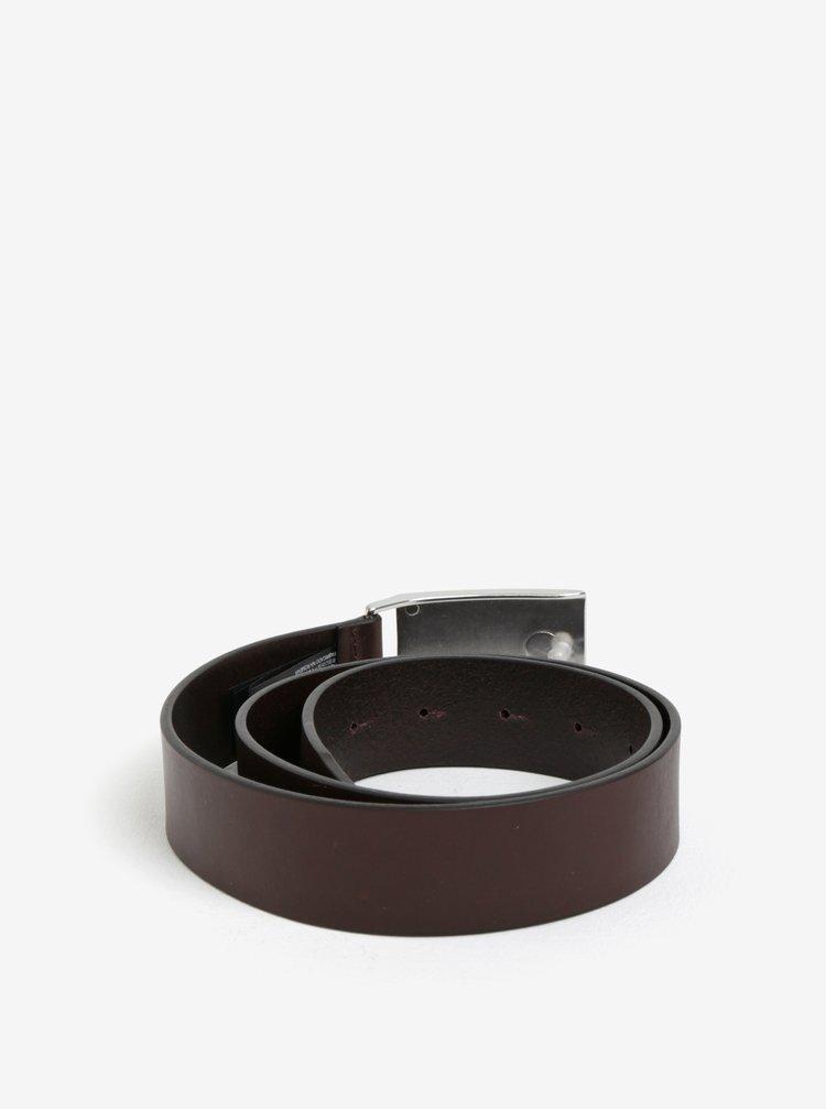Tmavě hnědý pánský kožený pásek Calvin Klein Jeans Mino
