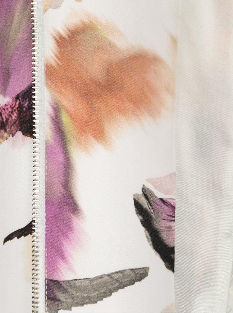 Krémové dámské květované sako se zipem Pietro Filipi