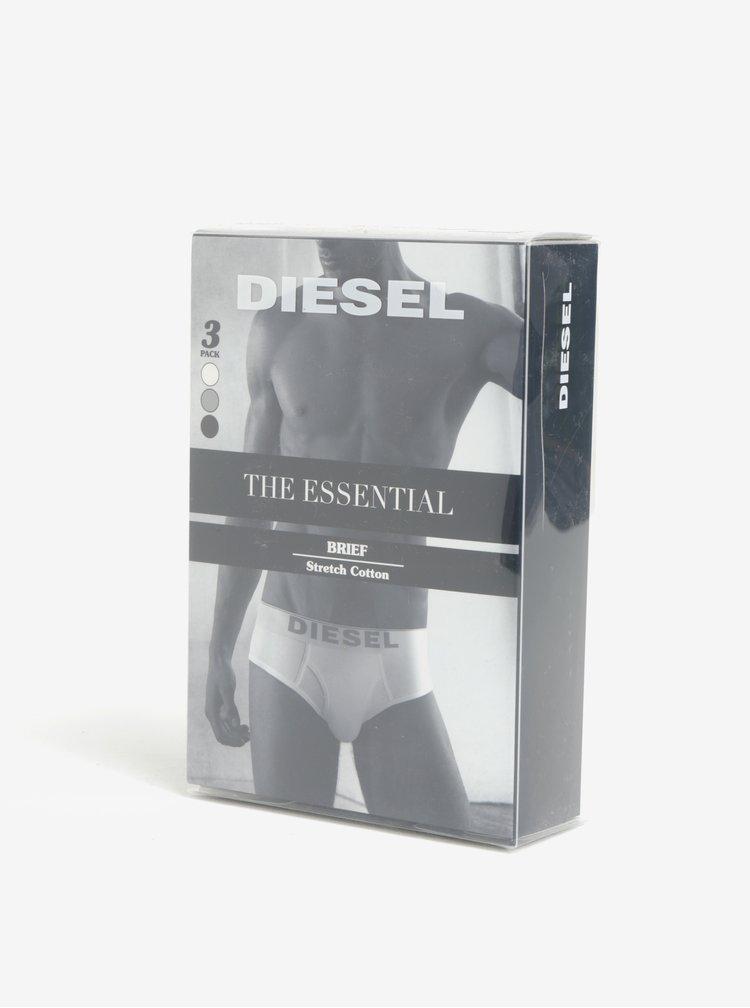 Set de 3 boxeri multicolori cu print si logo - Diesel