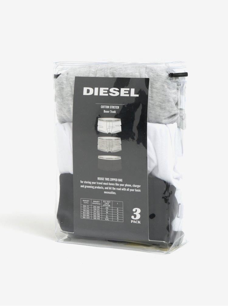 Sada tří boxerek v černé, šedé a bílé barvě Diesel