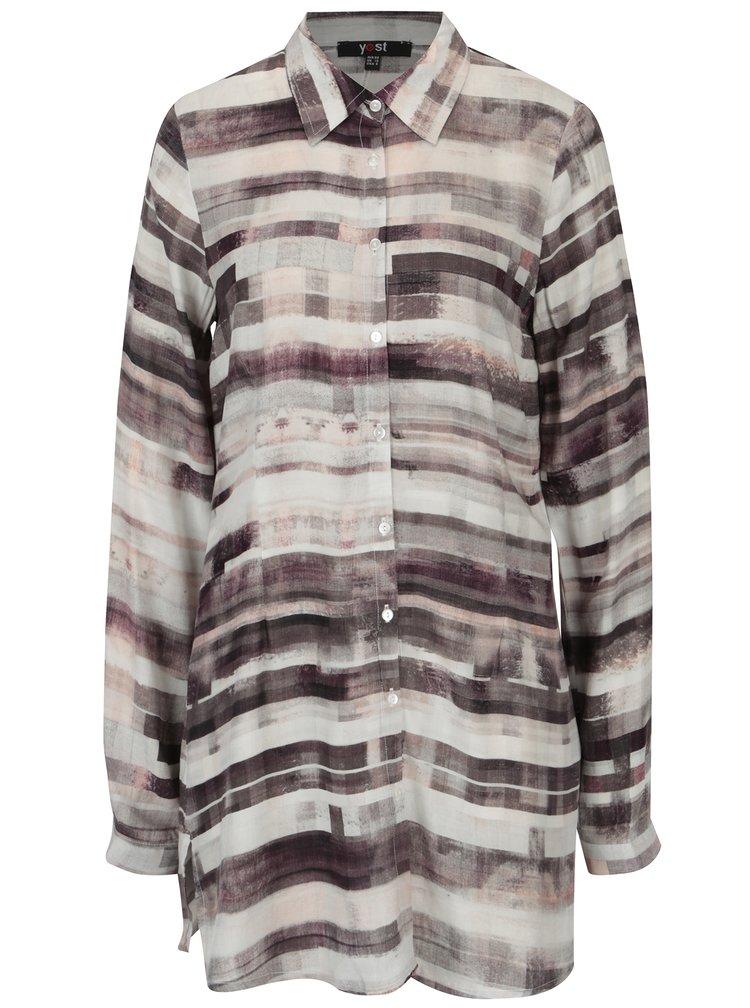 Krémovo-hnědá dlouhá vzorovaná košile Yest