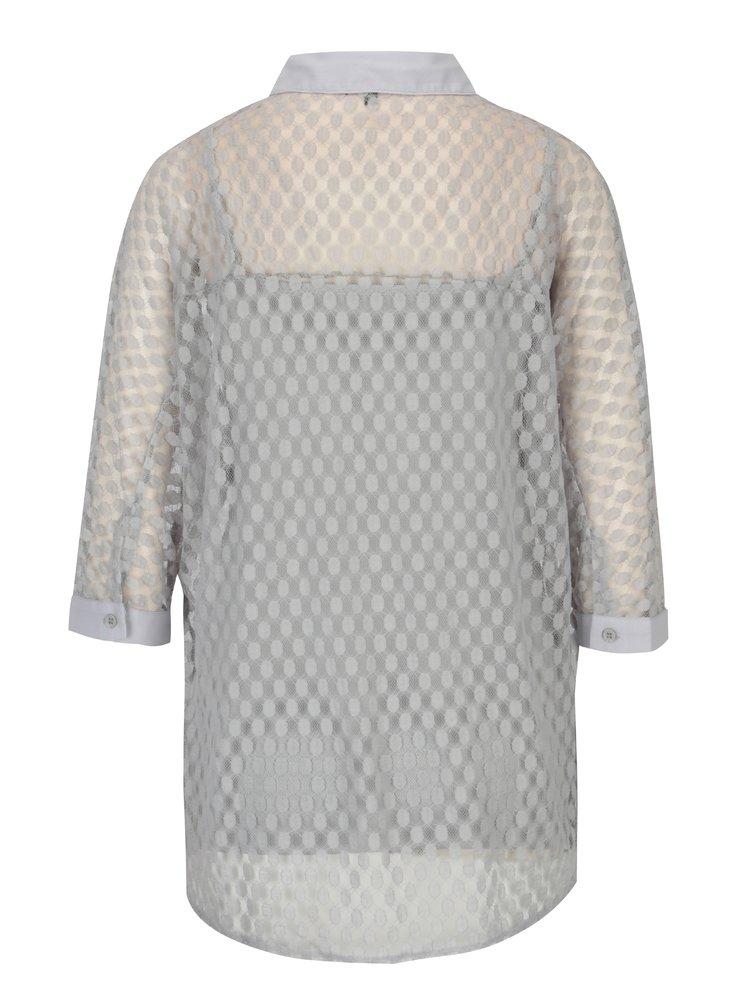 Světle šedá krajková košile s tílkem Yest