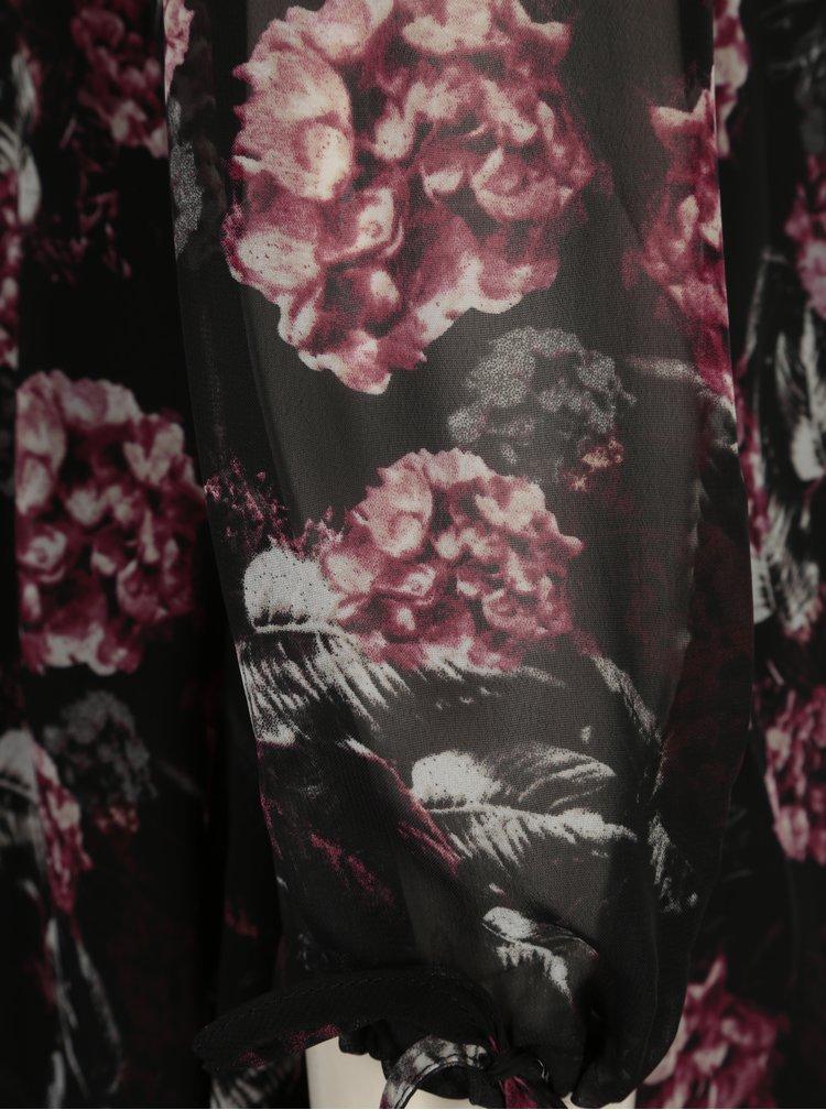 Černá květovaná halenka s průstřihy Yest