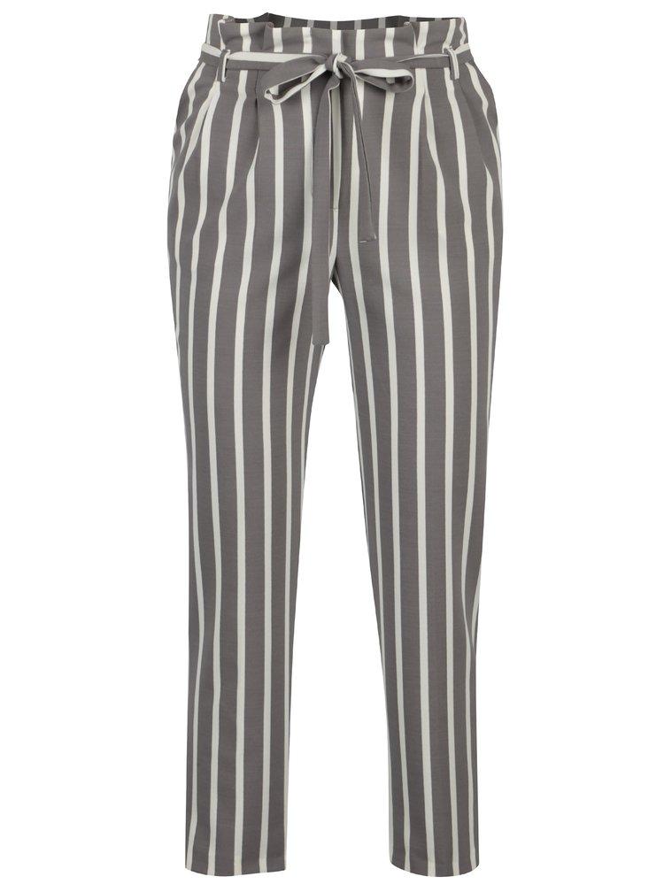 Šedé pruhované kalhoty Miss Selfridge