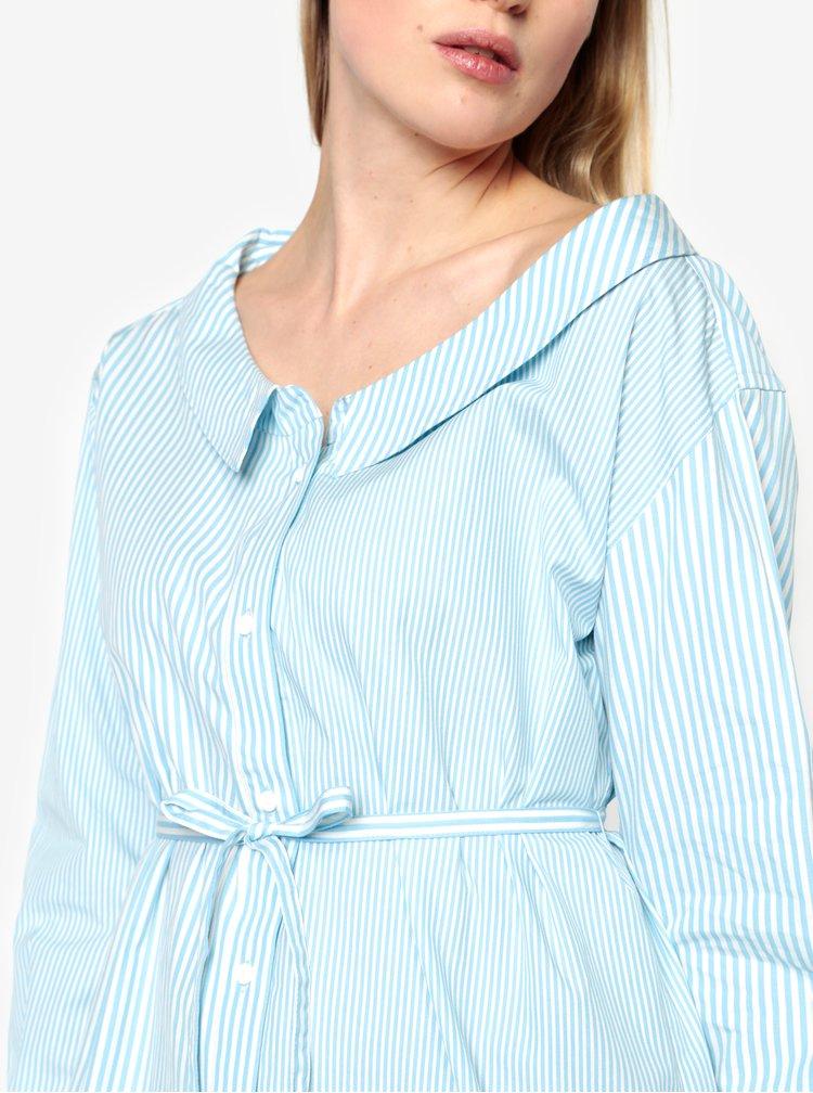 Krémovo–modrá pruhovaná blúzka  s opaskom French Connection Serrana