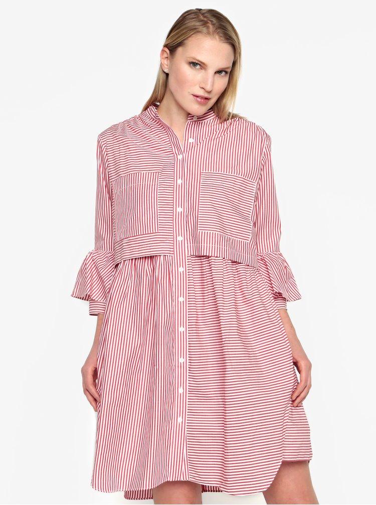 Krémovo-červené košilové oversize šaty French Connection Summer
