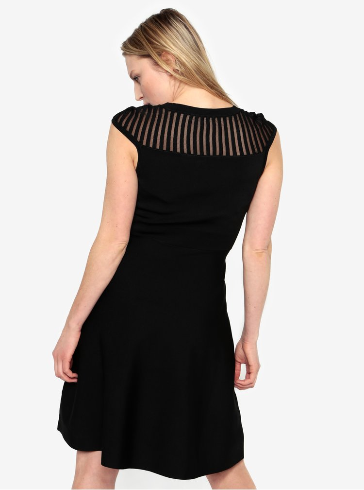 Rochie neagra cu dungi si insertii translucide -  French Connection Rosecrepeknts