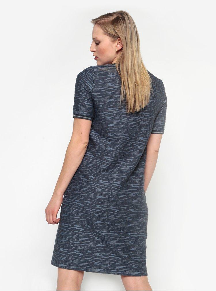 Modré melírované šaty s krátkym rukávom Yest