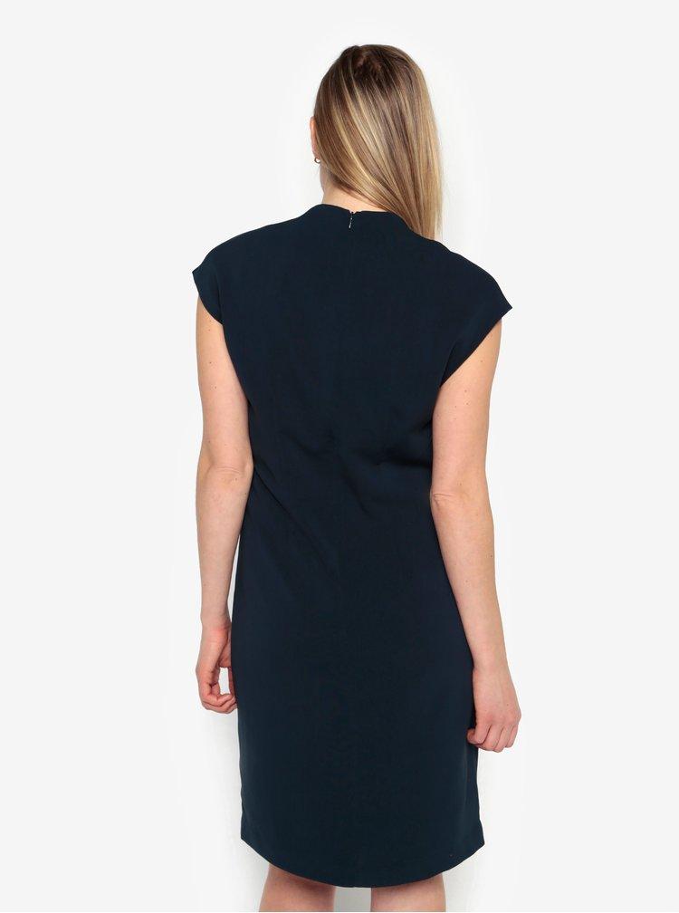 Tmavě modré šaty s véčkovým výstřihem Selected Femme Ninna