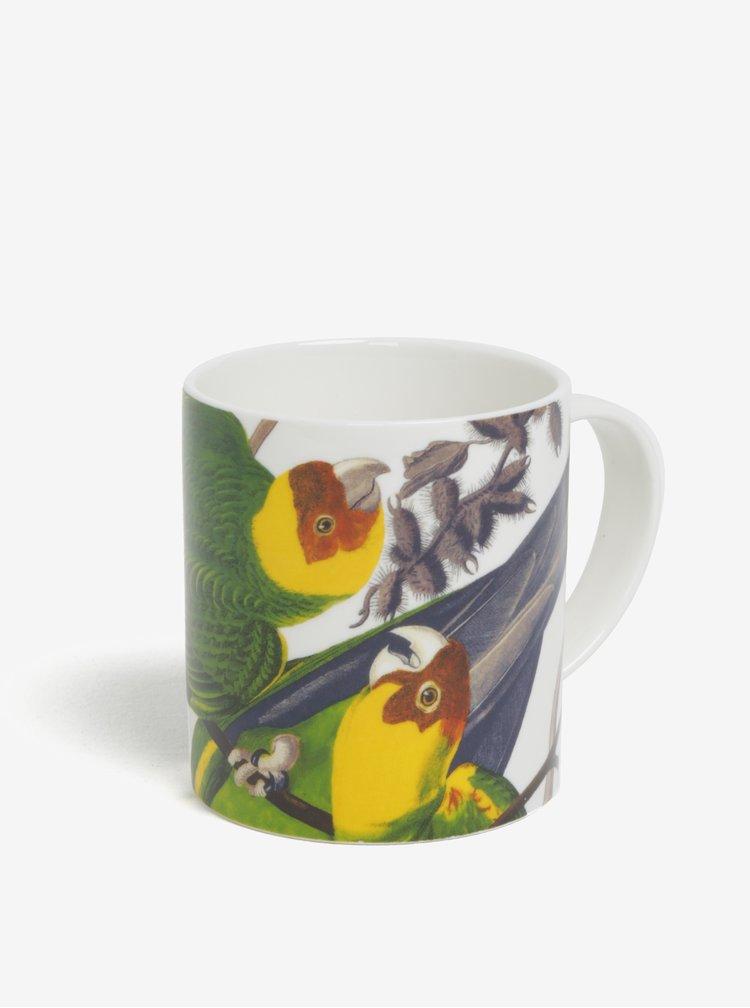 Biely hrnček s motívom papagájov Magpie Parrot