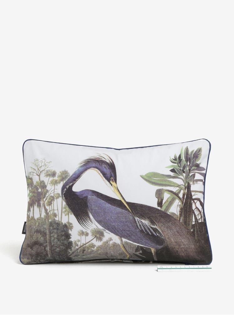 Bílý polštář s motivem jeřába Magpie Heron